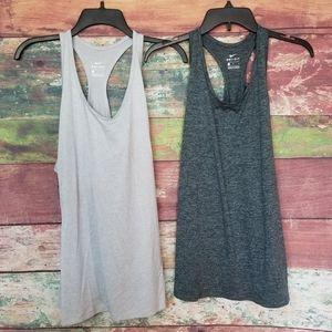 NEW nike lot bundle 2 solid gray tank tops running